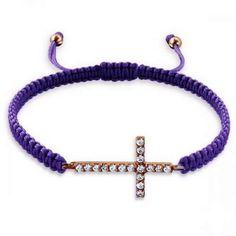 Cross-925 (Sterling Silver) w/Nylon Cord Nylon/Cord-Cubic Zirconia-Adjustable, Bracelet