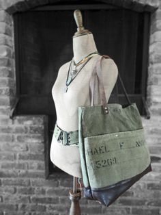 MILITARY TOTE Leather & Canvas Large Tote Bag Carry All Weekender Leather Straps Lots of Compartments!