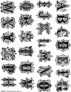 Monograms Plate 1 Sheets of Unmounted Rubber Stamps from Red Castle, Inc. Graffiti Lettering Fonts, Hand Lettering Alphabet, Lettering Styles, Lettering Design, Calligraphy Fonts, Calligraphy Alphabet, Script Fonts, Monogram Fonts, Monogram Letters