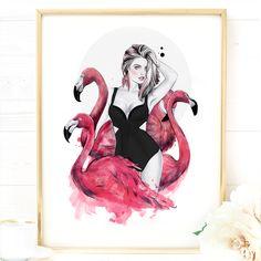 'Flamingo Fancy', by Fashion Illustrator Cristina Alonso