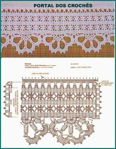 Vintage Lace Fabric, Beige Cotton Guipure Fabric with Floral Pattern, Retro Crochet Hollowed Lace Fa Filet Crochet, Crochet Stitches Chart, Crochet Lace Edging, Crochet Borders, Crochet Diagram, Crochet Squares, Crochet Trim, Crochet Doilies, Knit Crochet