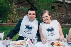 Custom wedding bibs for BBQ dinner reception