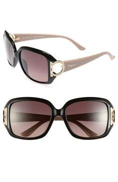 Salvatore Ferragamo 'Gancino' 55mm Sunglasses available at #Nordstrom