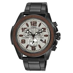 Citizen AT2278-58H Mens Eco-Drive BRT Grey Dial Black IP Steel Chronograph Watch,