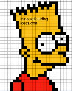 Minecraft Pixel Art Templates: Bart Simpson