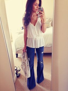 Forever21 top, Seven for All Mankind distressed flares and Balenciaga bag