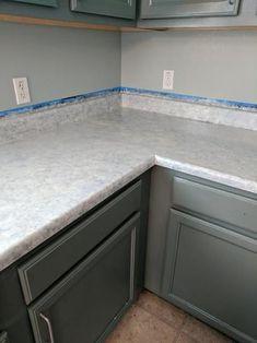 Vinyl Countertops, Spray Paint Countertops, Painting Laminate Countertops, Faux Marble Countertop, Countertop Makeover, Cheap Countertops, Painting Kitchen Cabinets, Paint Laminate Cabinets, Painted Granite Countertops