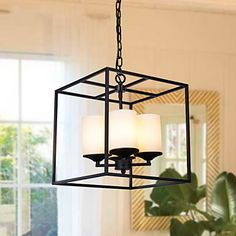 Creative American Village Square Glass Dining Minimalist Living Room Cozy Den Wrought Iron Chandelier – AUD $ 285.43