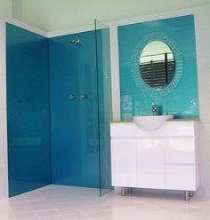 A Beautiful Acrylic Shower Wall Ozziesplash In Ozzieblue Imagine No More Grout Wallsbathroom