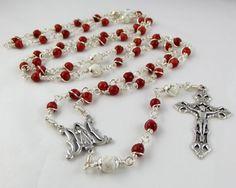 Divine Mercy of Jesus Rosary Beads in Red Sponge Coral by www.unbreakablerosaries.com, $55.00