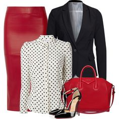 Leather office skirt by danigrll on Polyvore featuring polyvore, fashion, style, RED Valentino, Vero Moda, Zero + Maria Cornejo, Christian Louboutin, Givenchy, women's clothing and women's fashion