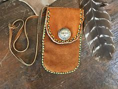 Medicine Bag Brown Suede Leather Sterling Silver Zuni Sunface Button