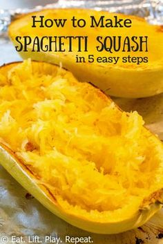 Squash Eat Lift Play Repeat Spaghetti squash is super easy to make and is a great low calorie option compared to pasta Click through for a tutorial for how to make this. Healthy Recipes, Vegetarian Recipes, Cooking Recipes, Fast Recipes, Mexican Recipes, Healthy Drinks, Lunch Recipes, Cooking Spaghetti Squash, Spaghetti Squash Spaghetti