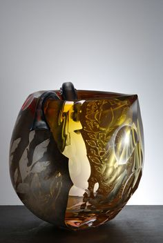 Hiroshi Yamano | 'From East to West: Nagare no. 75' Blown glass,etched silver leaf,copper overlay