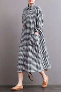Linen Plaid Casual Loose Shirt Dress,Winter Long Shirt for Women Q7810