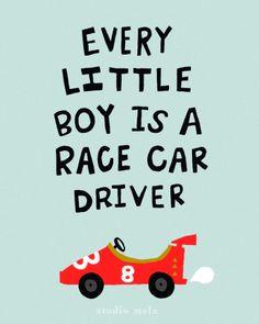 Typographic Children's Wall Art Print - digital art poster, digital illustration, nursery art, race cars, trucks, boys room - RACER
