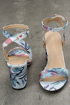 Take your vacay ensemble to the next level with the Chilali Light Blue Print Ankle Strap Heels! Blue, teal, white, orange, and pink tropical print heels have an ankle strap. Prom Shoes, Shoes Heels, Teal Heels, Shoes Sneakers, Ankle Strap Heels, Ankle Straps, Cute Shoes, Me Too Shoes, Valentino