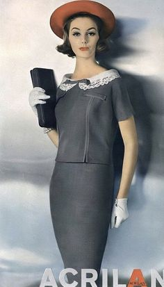 Lucinda Hollingsworth in two-piece dress of Acrilan and rayon by Donlé, Vogue, February 1958 50 Fashion, Fashion History, Fashion 2020, Modest Fashion, Retro Fashion, Fashion Models, Vintage Fashion, Fashion Outfits, Woman Fashion