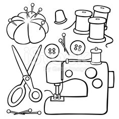 A variety of cartoon sewing design elements: a sewing machine,… Black and White Sewing Items stock vector art 9520890 – iStock Applique Templates, Applique Patterns, Quilt Patterns, Sewing Machine Drawing, Sewing Machine Tattoo, Embroidery Stitches, Machine Embroidery, Motifs D'appliques, Sewing Tattoos