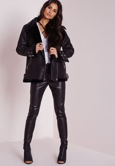 Missguided - Faux Shearling Pilot Jacket Black
