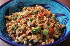 Tasty vegetarian salad- Chickpeas, lentils and feta cheese