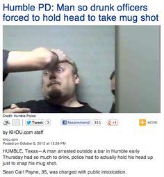 Arrested man's drunkenness results in the greatest mug shot ever.