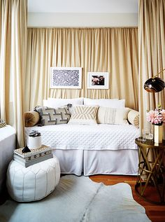 A Glamorous (and Renter-Friendly) Bedroom Makeover – One Kings Lane — Our Style… Bedroom Apartment, Apartment Living, Bedroom Decor, Living Room, Decorate Apartment, Apartment Makeover, Glam Bedroom, Apartment Ideas, Bedroom Ideas