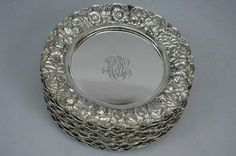 Sterling Silver Dinner Plates Stieff Rose C 1915