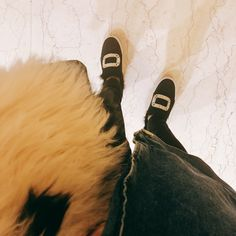 Winter look with #acnestudios  studio 2017 pre-order coat and #rogervivier fur shoes.