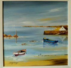 Chantier hostréicole - Peinture,  40x40 cm ©2014 par André Kermorvant -                            Peinture contemporaine, marine, Bretagne, chantier hostréicole