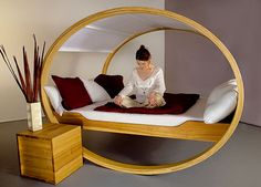 """Found on the Apartment Therapy blog entry """"Fun & Unusual Beds"""". This wonderful bed rocks one to sleep"""