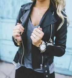 leather jacket + grey tee #nastygal