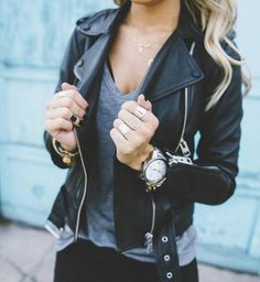 leather jacket + grey tee #nastygal