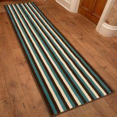 Broad 1 - Brown, Blue & Cream Hallway Carpet Runner