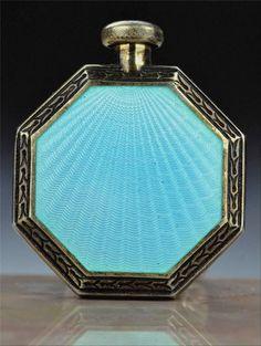 Rare Vintage ART Deco 1920s F B Foster Bailey Sterling Enamel Perfume Bottle