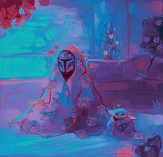 Dear Old Yoda is sitting beside Boba Fett. Star Wars Fan Art, Star Wars Clone Wars, Starwars, Star Wars Jokes, Merry Christmas Happy Holidays, Disney Stars, Love Stars, Live Action, Cute Pictures