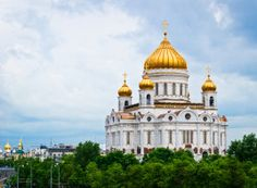 Religion:  This is a picture of the most popular Orthodox Church in Russia. It is called Christ the Savior Cathedral in Moscow, Russia.