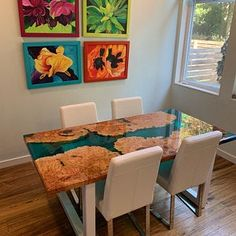 Walnut dining table with transparent turquoise resin Walnut Dining Table, Dinning Table, Epoxy Wood Table, Tiny House Furniture, Wood Table Design, Resin Furniture, Woodworking Furniture Plans, Floating, Small Dining