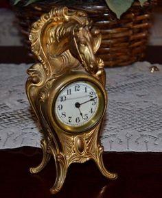 Antique Johnson Brothers Art Nouveau Cast Metal Horse Head Shelf Clock, Working!