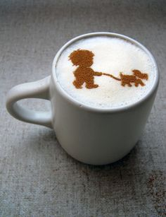 boy puppy  Coffee STENCIL  coffee art foam
