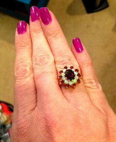 Stunning Opal & Garnet ring has beautiful fire my pictures dont capture. Ring has a deep red wine center garnet measuring approx X with Garnet Rings, October Birth Stone, Makers Mark, Etsy Vintage, Red Wine, Class Ring, Diy Jewelry, Opal, Glow