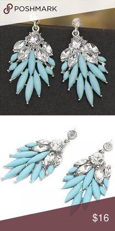 """Turquoise & Crystal Chandelier Earrings Turquoise & Crystal Fashion Chandelier Earrings. Alloy. 2"""" in length. Jewelry Earrings"""