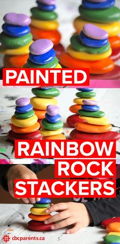 Here's a painting activity your kids will love! It incorporates colour recognition (the rainbow!) and the varying sizes of rocks give you an opportunity to teach ordering by size! Plus, it's bright and colourful and stackable! Who wouldn't love that? Rainbow Paper, Rainbow Crafts, Rainbow Art, Kids Rainbow, Rainbow Fish, Rainbow Activities, Craft Activities For Kids, Preschool Crafts, Science Crafts