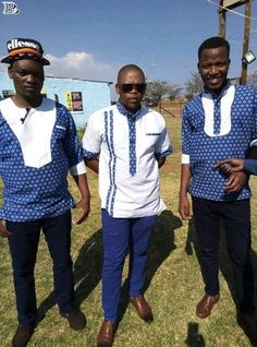 Top Shweshwe Styles for Men in South Africa - Reny styles Xhosa Attire, African Attire, African Wear, African Fashion, African Traditional Wedding Dress, Traditional Wedding Attire, Traditional Outfits, Traditional Styles, African Print Shirt
