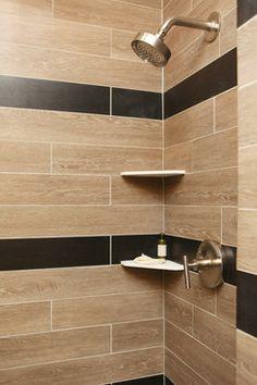 Wood-Look porcelain tile in the shower