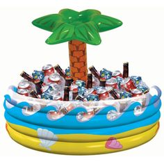 One 26.5 inches high by 28.5 inches around Tropical Palm Tree Inflatable Cooler. Keep your guests cool and refreshed at a summer pool or beach party. This cooler will hold about 72 drinks and ice.