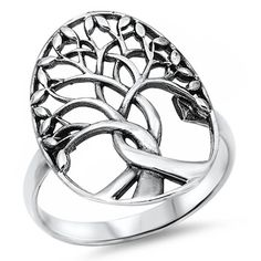 Family Tree Intertwined Roots .925 Sterling Silver Ring Sizes 5-13
