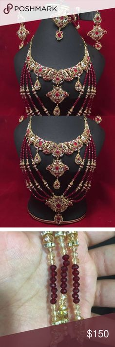 NWOT Indian bridal set Beautiful polki Kundan jewelry set attached with  rhinestones and beads and crystal beads very good quality polki  big necklace, long earrings, and side Matha Patti. • Please ask as many as questions before buying it's a final sell no Return or Exchange accepted. Thank you  Other styles and colors available: facebook.com/prestigiousjewelry Jewelry Necklaces