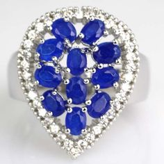 Elegant Drop Real Blue Sapphire, White CZ Engagement Silver Ring 7.25 # #Ring