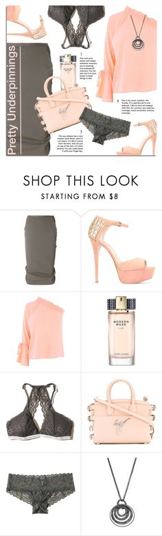 """""""The Prettiest Underpinnings"""" by xiandrina ❤ liked on Polyvore featuring Rick Owens, Elie Saab, Warehouse, Estée Lauder, Hollister Co., Giuseppe Zanotti, Apt. 9 and prettyunderpinnings"""